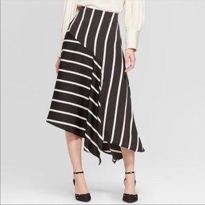 Who What Wear Striped Asymmetrical Skirt
